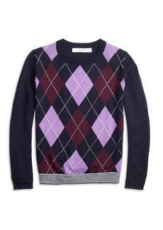 Brooks Brothers Girls Merino Wool Blend Argyle Sweater