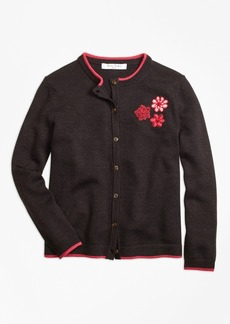 Brooks Brothers Girls Merino Wool Embroidered Cardigan