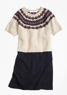 Brooks Brothers Girls Merino Wool Fair Isle Sweater Dress