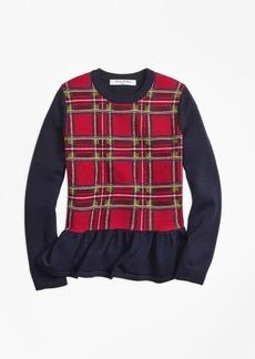 Brooks Brothers Girls Merino Wool Holiday Tartan Peplum Sweater