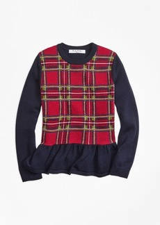 Brooks Brothers Girls Merino Wool Holiday Tartan Peplum Sweater