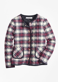 Brooks Brothers Girls Quilted Twill Plaid Coat