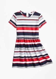 Brooks Brothers Girls Short-Sleeve Cotton Multi-Stripe Dress