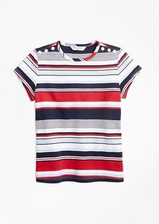 Brooks Brothers Girls Short-Sleeve Cotton Multi-Stripe T-Shirt