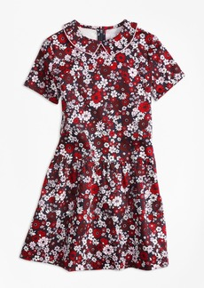 Brooks Brothers Girls Short-Sleeve Cotton Sateen Floral Dress