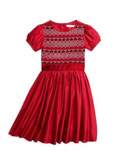 Brooks Brothers Girls Short-Sleeve Silk Smocked Dress