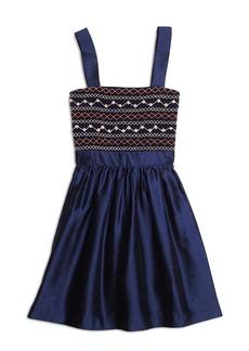 Brooks Brothers Girls Silk Sleeveless Smocked Dress