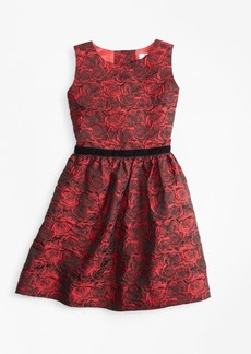Brooks Brothers Girls Sleeveless Rose Jacquard Dress