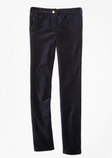 Brooks Brothers Girls Stretch Velvet Cotton Five-Pocket Pants