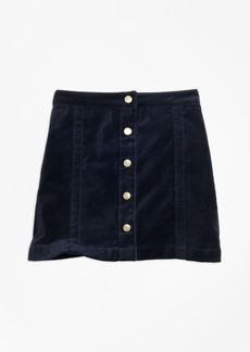 Brooks Brothers Girls Stretch Velvet Cotton Skirt
