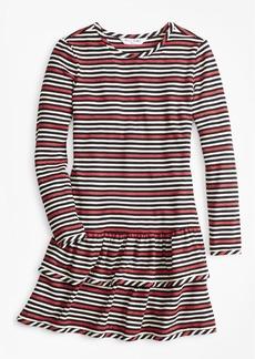 Brooks Brothers Girls Striped Ruffle Knit Dress