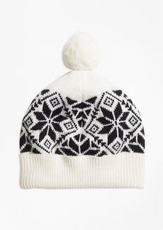 Brooks Brothers Girls Wool Blend Snowflake Fair Isle Pom Hat