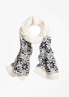 Brooks Brothers Girls Wool Blend Snowflake Fair Isle Scarf