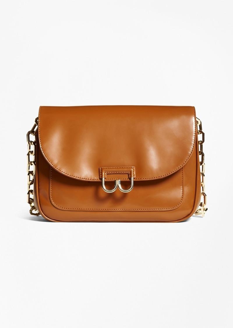 Brooks Brothers Glazed Leather Shoulder Bag