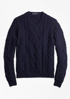 Brooks Brothers Hand-Knit Merino Wool and Alpaca Crewneck Sweater