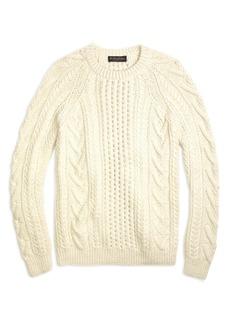 Brooks Brothers Handknit Aran Cable Crewneck Sweater