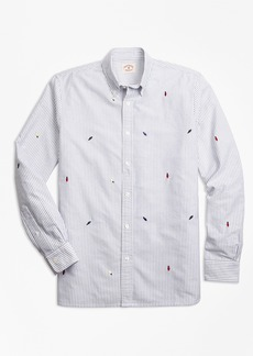 Brooks Brothers Holiday Light-Embroidered Striped Cotton Oxford Sport Shirt