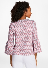 e61fea80e67438 Brooks Brothers Hula-Dancer-Print Cotton Sateen Blouse | Dress Shirts