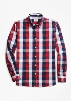 Brooks Brothers Indigo-Dyed Checked Cotton Broadcloth Sport Shirt