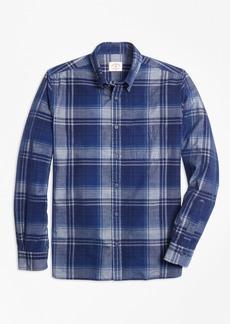 Brooks Brothers Indigo-Dyed Tartan Cotton Corduroy Sport Shirt