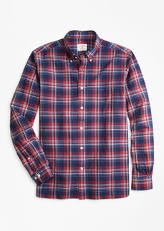 Brooks Brothers Indigo Plaid Madras Sport Shirt