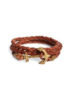 Brooks Brothers Kiel James Patrick Walnut Leather Rope Bracelet