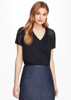 Brooks Brothers Lace-Sleeve V-Neck T-Shirt