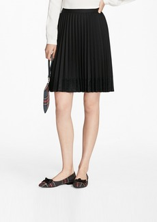 Brooks Brothers Lace-Trimmed Wool-Blend Pleated Skirt