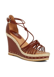 Brooks Brothers Lambskin Strappy Platform Wedge