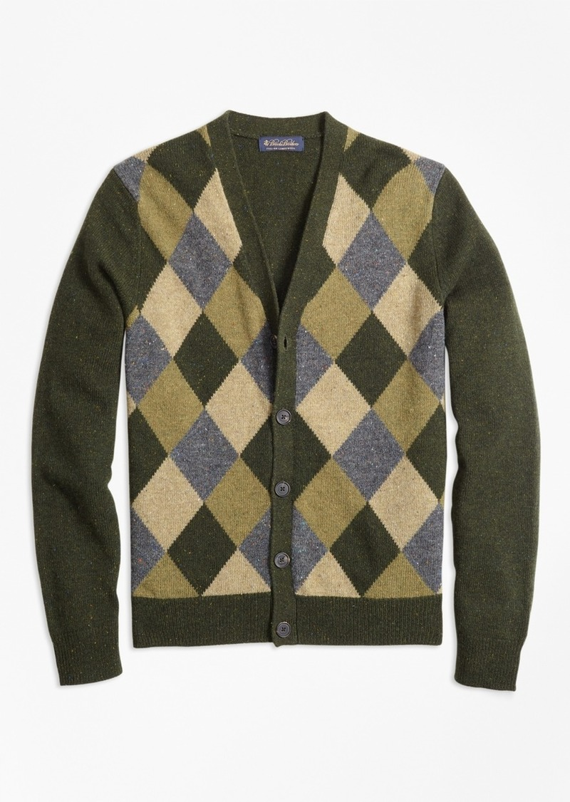 8f948836b5a8 Brooks Brothers Lambswool Button-Front Argyle Cardigan