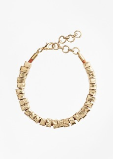 Brooks Brothers Leather and Hammered Gold Bracelet