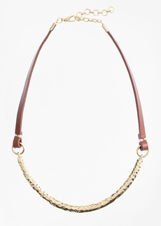 Brooks Brothers Leather and Hammered Gold Choker