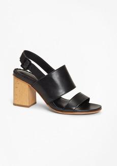 Brooks Brothers Leather Block-Heel Sandals