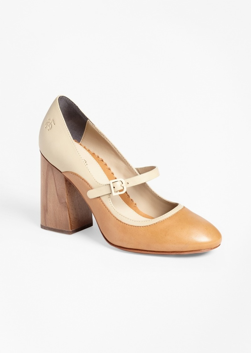 Brooks Brothers Leather Mary Jane Spectator Pumps
