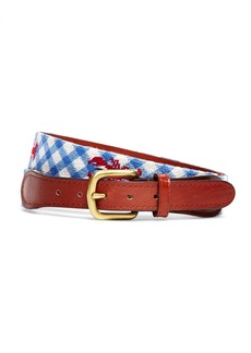 Brooks Brothers Lobster Gingham Needlepoint Belt