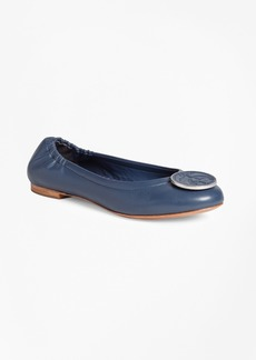 Brooks Brothers Logo Medallion Leather Flats