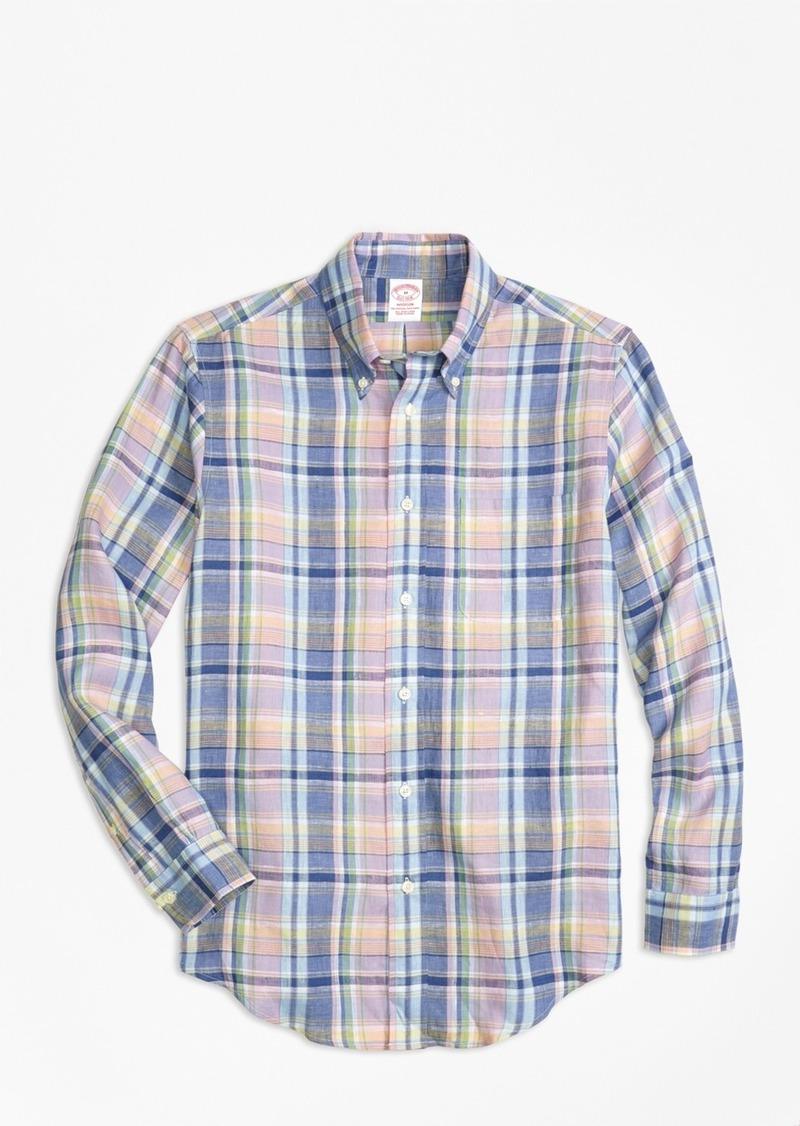 Brooks Brothers Madison Fit Lavender Plaid Irish Linen Sport Shirt