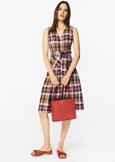 Brooks Brothers Madras Cotton Faux Wrap Dress