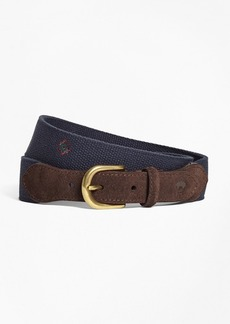 Brooks Brothers Medallion-Embroidered Cotton Belt