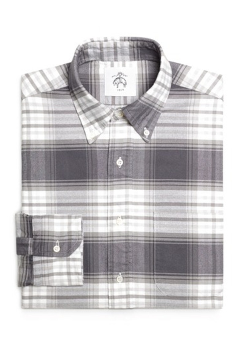 Brooks Brothers Grey and White Plaid Shirt