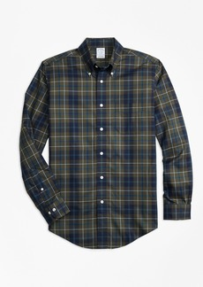 Brooks Brothers Non-Iron Regent Fit Olive Plaid Sport Shirt