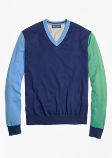 Brooks Brothers Cotton-Cashmere Colorblock V-Neck Sweater