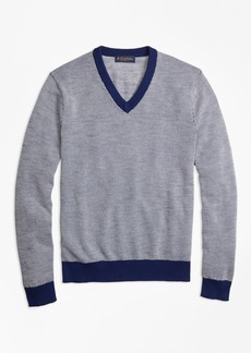 Brooks Brothers Two-Color Textured Stitch V-Neck Sweater