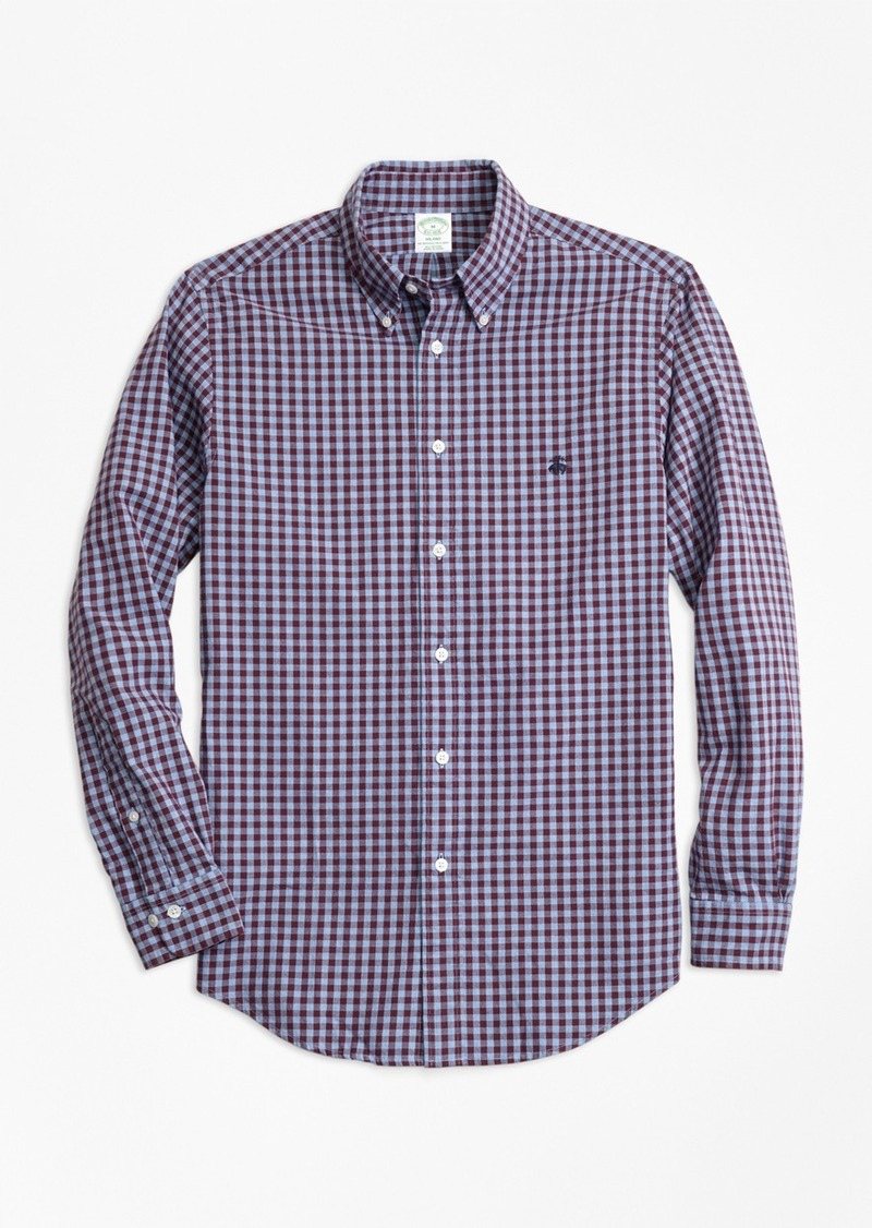 Brooks brothers milano fit brushed oxford gingham sport for Brooks brothers sports shirts