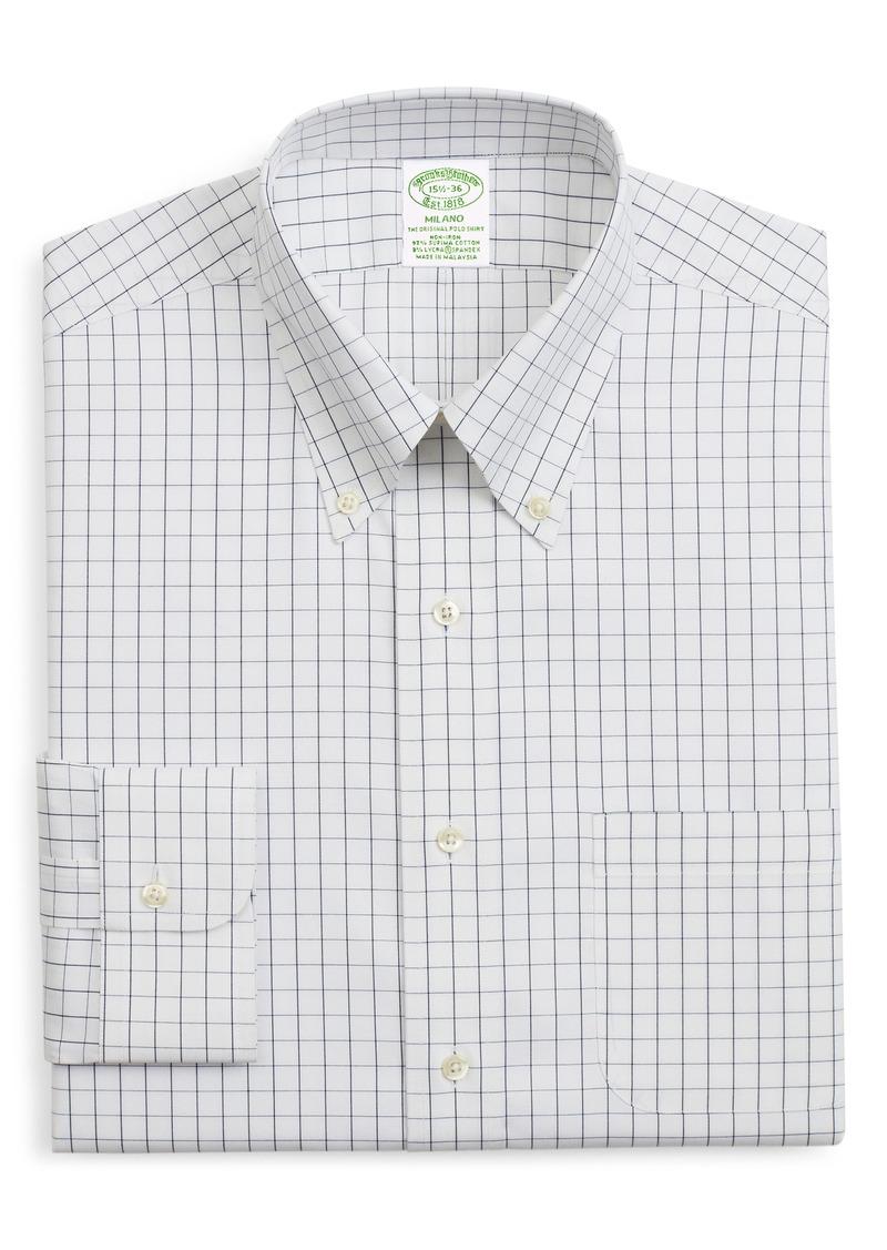 Men's Brooks Brothers Milano Trim Fit Stretch Windowpane Dress Shirt
