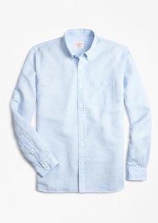 Brooks Brothers Micro-Gingham Linen-Blend Sport Shirt