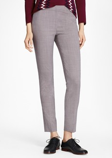 Brooks Brothers Micro-Plaid Stretch Wool Slim-Fit Pants