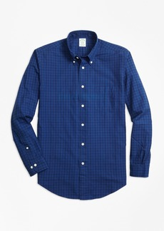 Brooks Brothers Milano Fit Indigo Tonal Plaid Sport Shirt