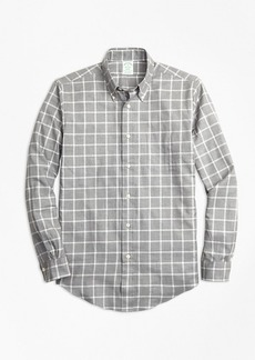 Brooks Brothers Milano Fit Small Windowpane Flannel Sport Shirt