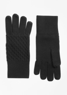 Brooks Brothers Mixed-Stitch Merino Wool Gloves